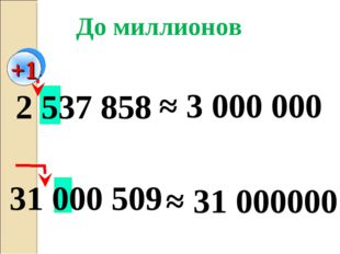 31 000 509 2 537 858 ≈ 3 000 000 ≈ 31 000000 До миллионов +1