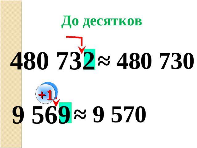 9 569 480 732 ≈ 480 730 ≈ 9 570 До десятков +1