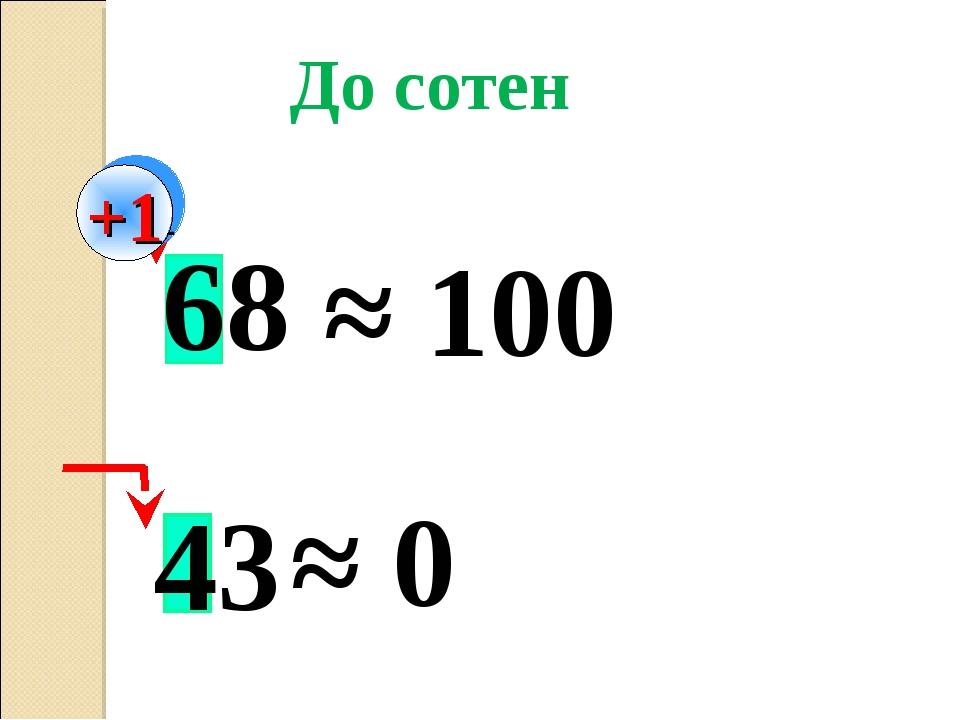 43 68 ≈ 100 ≈ 0 До сотен +1