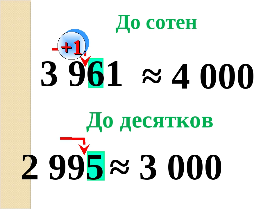 2 995 3 961 ≈ 4 000 До сотен +1 ≈ 3 000 До десятков