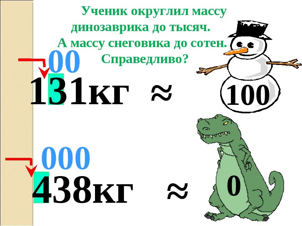 438кг ≈ 000 Ученик округлил массу динозаврика до тысяч. А массу снеговика до...