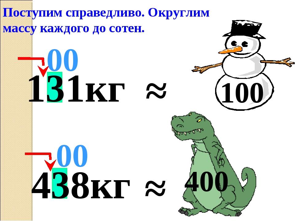 ≈ 00 Поступим справедливо. Округлим массу каждого до сотен. 400 131кг ≈ 100 4...