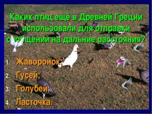 Каких птиц ещё в Древней Греции использовали для отправки сообщений на дальни