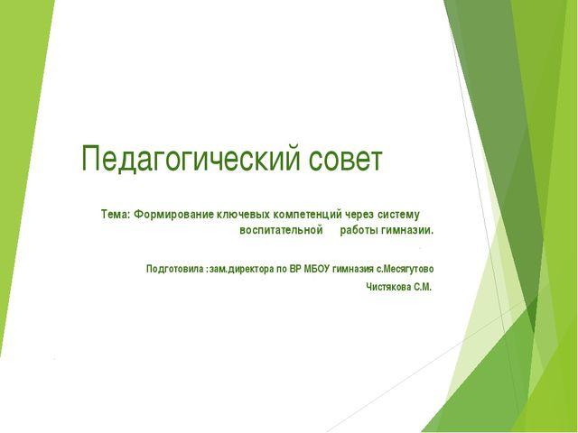 Педагогический совет Тема: Формирование ключевых компетенций через систему во...