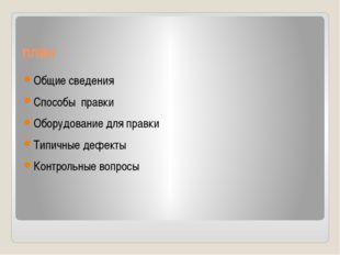 план Общие сведения Способы правки Оборудование для правки Типичные дефекты К