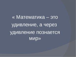 « Математика – это удивление, а через удивление познается мир»