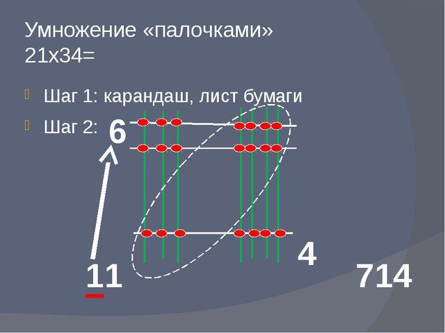 Умножение «палочками» 21х34= Шаг 1: карандаш, лист бумаги Шаг 2: 6 4 11 714