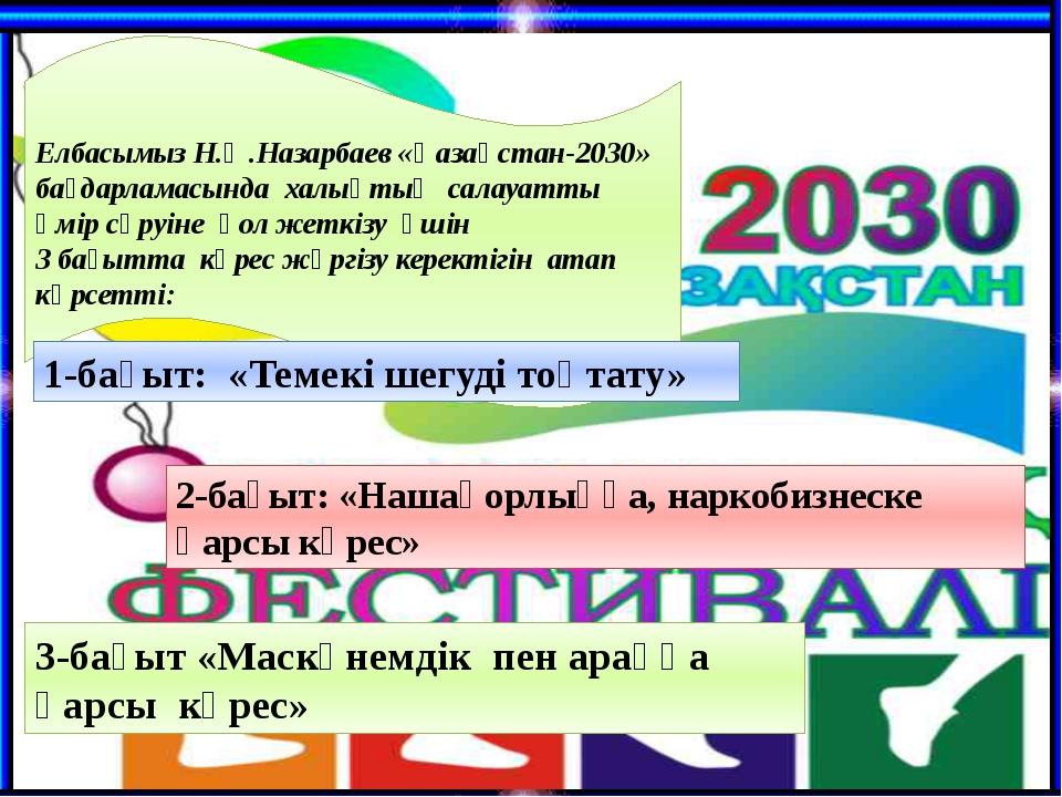 Елбасымыз Н.Ә.Назарбаев «Қазақстан-2030» бағдарламасында халықтың салауатты ө...
