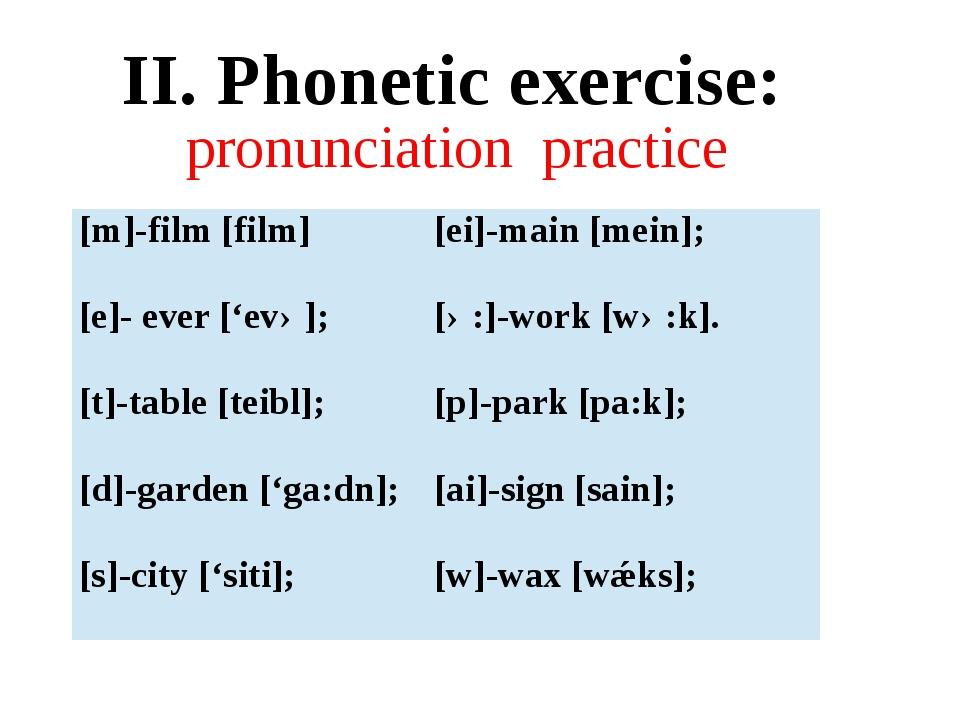 pronunciation practice II. Phonetic exercise: [m]-film [film] [ei]-main [mein...