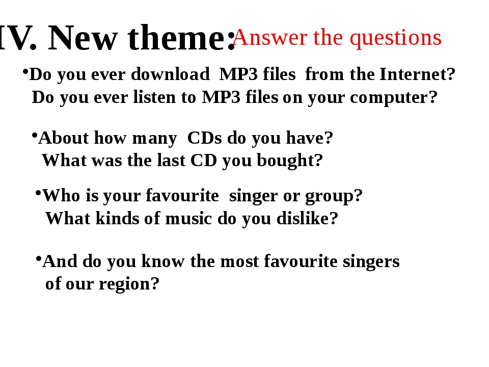 Answer the questions Do you ever download MP3 files from the Internet? Do you...