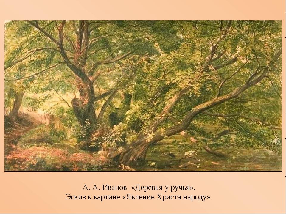 А. А. Иванов «Деревья у ручья». Эскизккартине «Явление Христа народу»