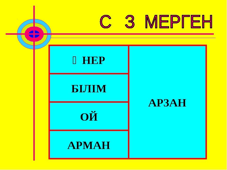 ӨНЕР БІЛІМ ОЙ АРМАН АРЗАН