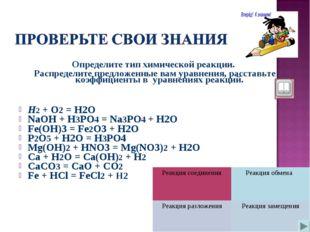 Определите тип химической реакции. Распределите предложенные вам уравнения, р