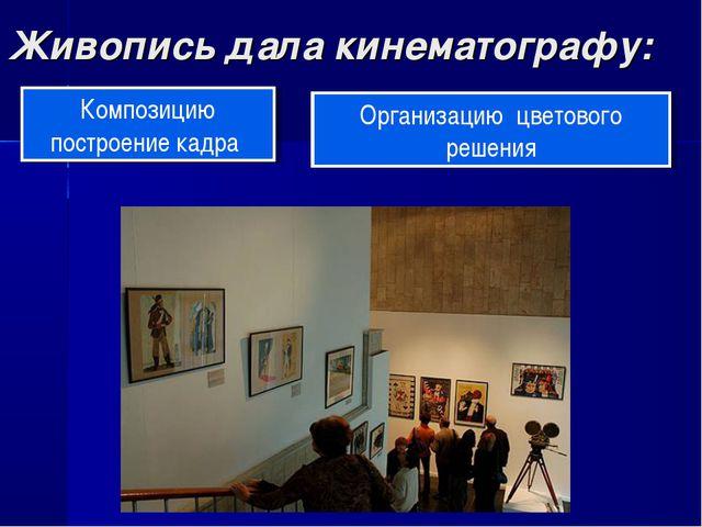 Живопись дала кинематографу: Композицию построение кадра Организацию цветовог...