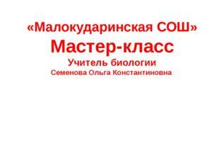 «Малокударинская СОШ» Мастер-класс Учитель биологии Семенова Ольга Константи