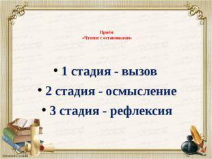 Приём «Чтение с остановками» 1 стадия - вызов 2 стадия - осмысление 3 стадия