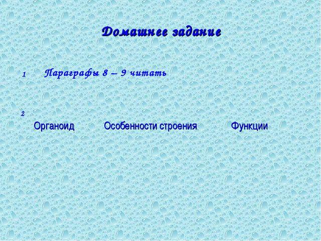 Домашнее задание Параграфы 8 – 9 читать 1 2