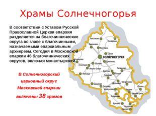Храмы Солнечногорья В соответствии с Уставом Русской Православной Церкви епар