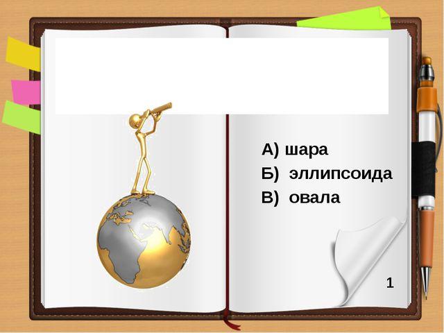 А) шара Б) эллипсоида В) овала Планета Земля имеет форму 1