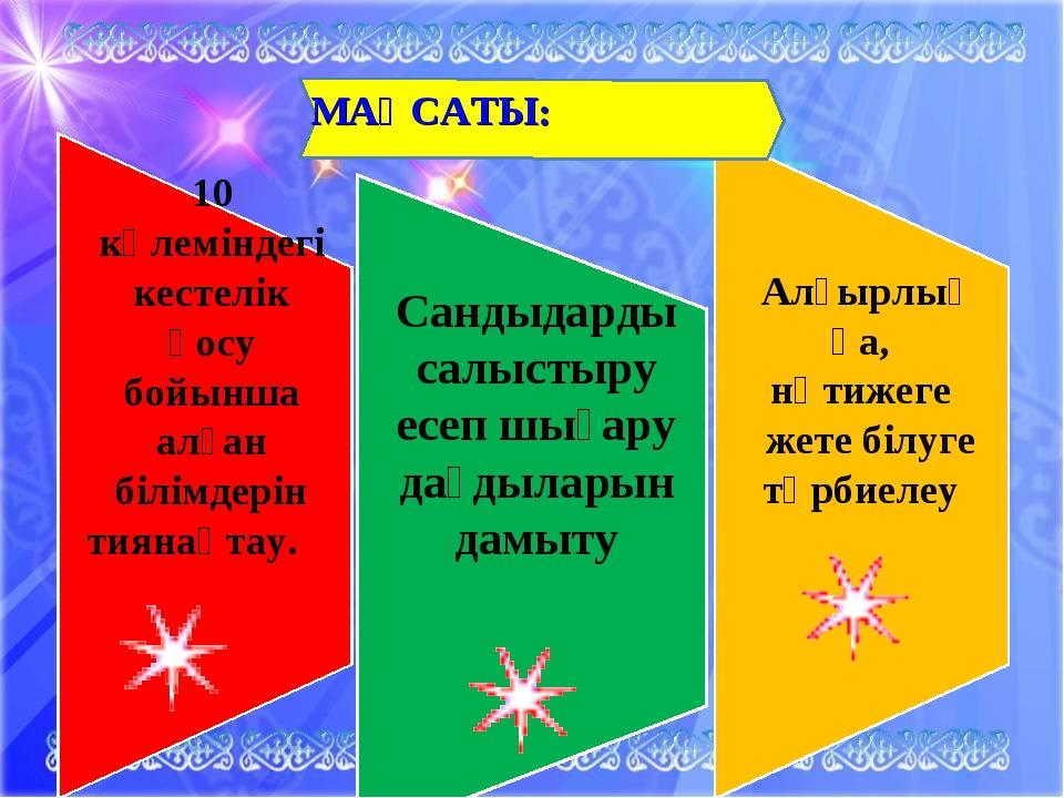 МАҚСАТЫ: 10 көлеміндегі кестелік қосу бойынша алған білімдерін тиянақтау. Сан...