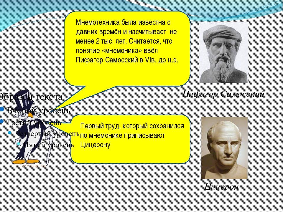 Пифагор Самосский Цицерон Мнемотехника была известна с давних времён и насчи...
