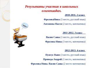 Результаты участия в школьных олимпиадах. 2010-2011, 2 класс ФроловаНина (3