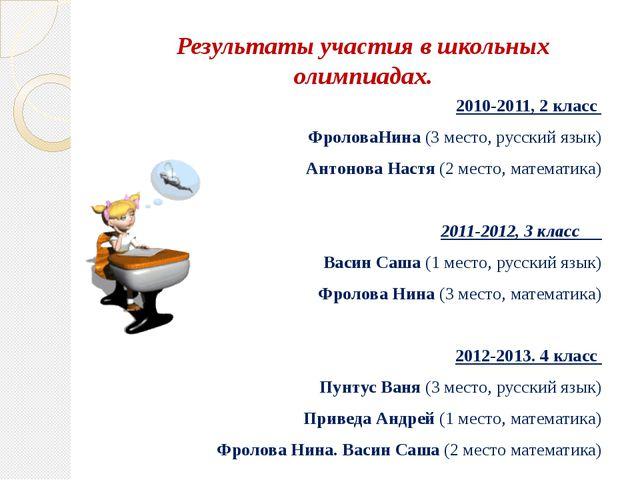 Результаты участия в школьных олимпиадах. 2010-2011, 2 класс ФроловаНина (3...