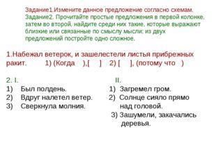 Задание1.Измените данное предложение согласно схемам. Задание2. Прочитайте пр