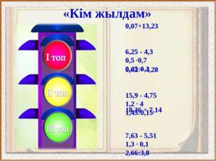 «Кім жылдам» 0,07+13,23 6,25 - 4,3 0,5 ·0,7 0,45:0,3 9,02 + 4,28 15,9 - 4,75