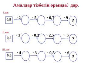 Амалдар тізбегін орындаңдар. 0,9 · 2 · 5 · 0,7 · 9 0,5 0,6 · 3 · 0,2 · 2,5 ·
