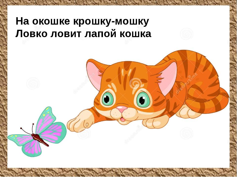 На окошке крошку-мошку Ловко ловит лапой кошка