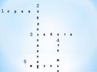 1 2 3 4 5 право б р а з о в а н и е абота с е м ь я