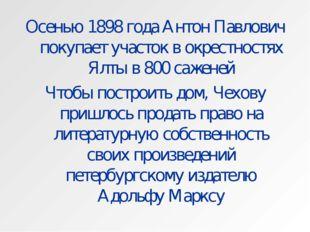 Осенью 1898 года Антон Павлович покупает участок в окрестностях Ялты в 800 са
