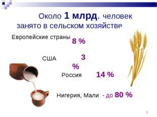 * Около 1 млрд. человек занято в сельском хозяйстве Европейские страны 8 % СШ