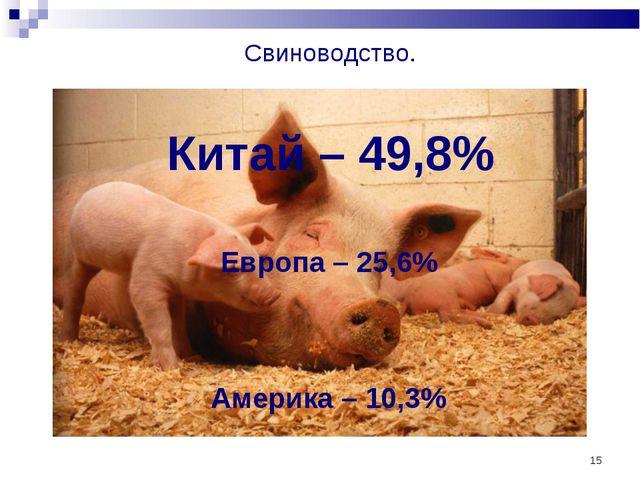 * Свиноводство. Китай – 49,8% Европа – 25,6% Америка – 10,3%