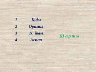 1 Киім Ш аршы 2 Орамал 3 Бұйым 4 Аспап