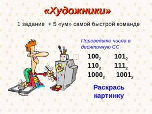 «Художники» 1 задание + 5 «ум» самой быстрой команде 2 1012 2 1112 10002 1001
