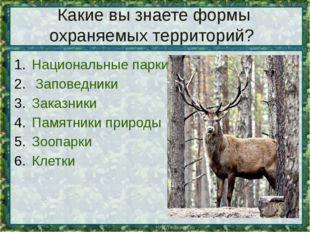 Какие вы знаете формы охраняемых территорий? Национальные парки Заповедники З