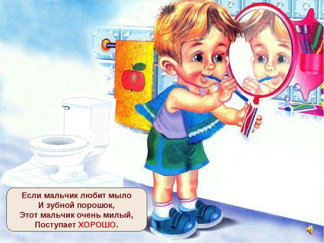 Если мальчик любит мыло И зубной порошок, Этот мальчик очень милый, Поступает...