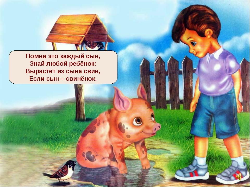 Помни это каждый сын, Знай любой ребёнок: Вырастет из сына свин, Если сын – с...