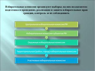 Избирательные комиссии организуют выборы; на них возлагаются: подготовка и пр