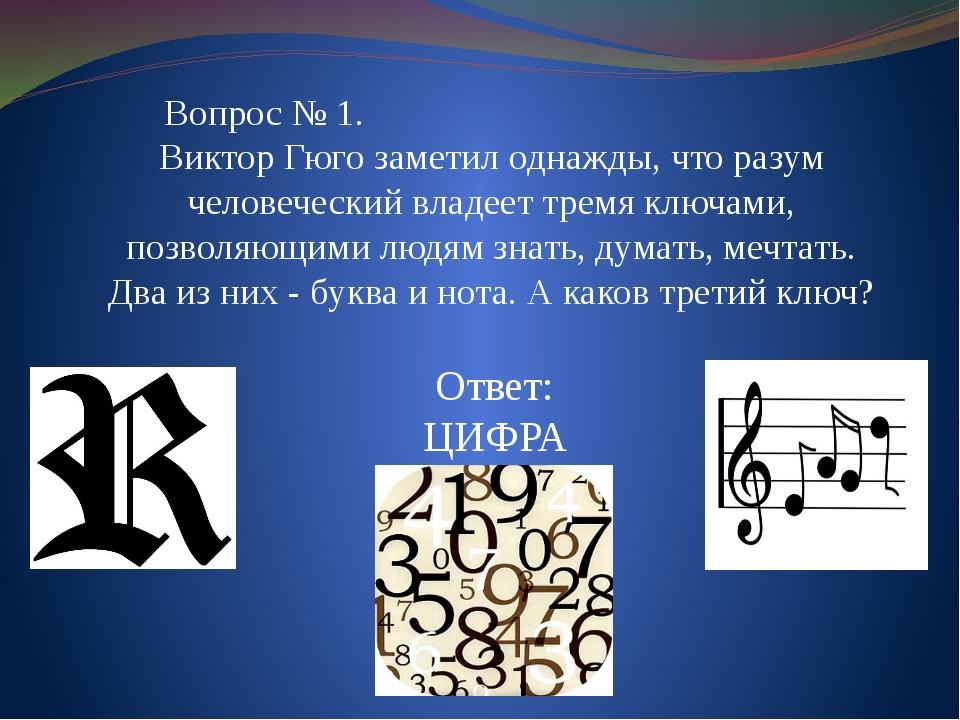 Ответ: ЦИФРА Вопрос № 1. Виктор Гюго заметил однажды, что разум человеческий...