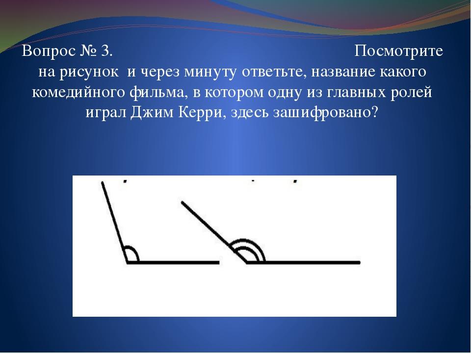 Вопрос № 3. Посмотрите на рисунок и через минуту ответьте, название какого ко...