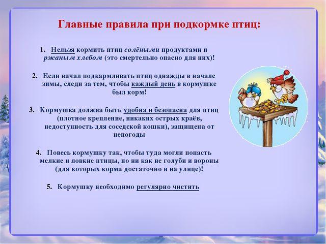Главные правила при подкормке птиц: регулярно чистить! ! Нельзя кормить птиц...
