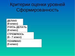 Критерии оценки уровней Сформированность ПОНИМАЮ (5 класс) СТРЕМЛЮСЬ (6 - 7 к