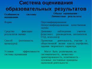 Система оценивания образовательных результатов Особенности системы оценивания