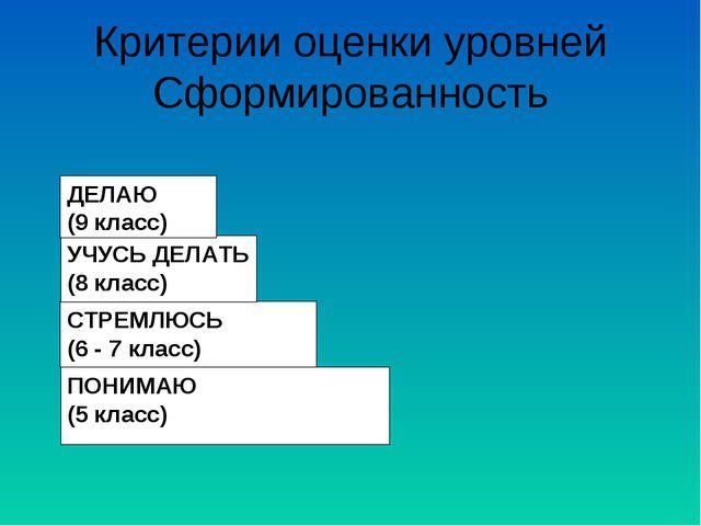 Критерии оценки уровней Сформированность ПОНИМАЮ (5 класс) СТРЕМЛЮСЬ (6 - 7 к...