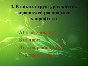 4. В каких структурах клеток водорослей расположен хлорофилл: А) в цитоплазме