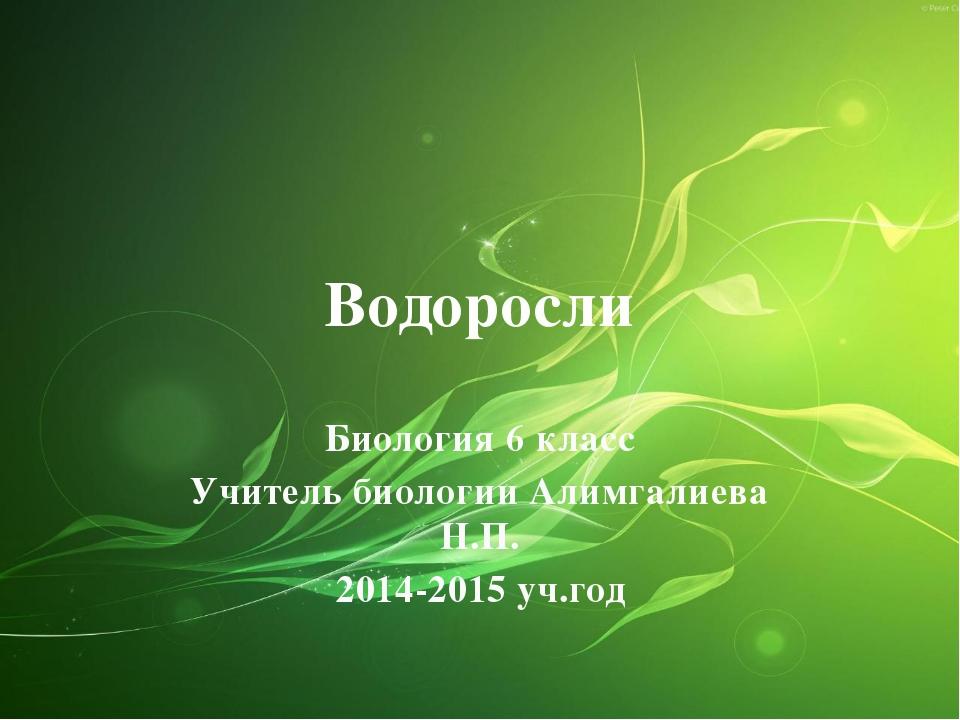 Водоросли Биология 6 класс Учитель биологии Алимгалиева Н.П. 2014-2015 уч.год