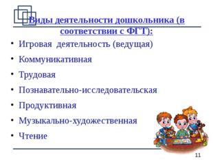 Виды деятельности дошкольника (в соответствии с ФГТ): Игровая деятельность (в